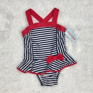 NWT Nautical Navy White Striped Suit Size 3T